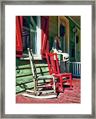 Two Rocking Chairs On Porch Framed Print by Susan Savad