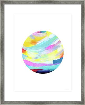 Colorful Uprise 4 Circle- Art By Linda Woods Framed Print by Linda Woods
