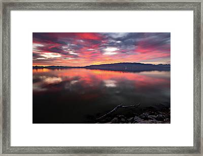 Framed Print featuring the photograph Colorful Utah Lake Sunset by Wesley Aston