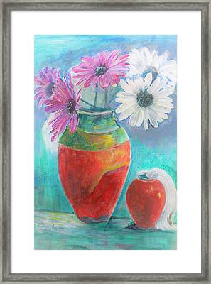 Colorful Vases And Flowers Framed Print