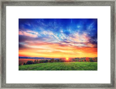 Colorful Warm Fall Sunset - Retzer Nature Center - Waukesha,wi. Framed Print by Jennifer Rondinelli Reilly - Fine Art Photography