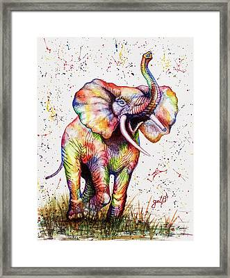 Framed Print featuring the painting Colorful Watercolor Elephant by Georgeta Blanaru