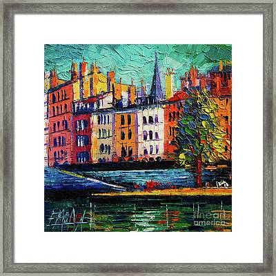 Colorful Waterfront In Lyon France Modern Impressionist Palette Knife Oil Painting Cityscape Framed Print
