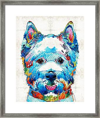 Colorful West Highland Terrier Dog Art Sharon Cummings Framed Print by Sharon Cummings