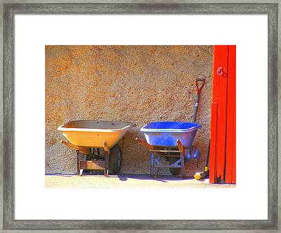 Framed Print featuring the photograph Colorful Wheelbarrows by Margie Avellino