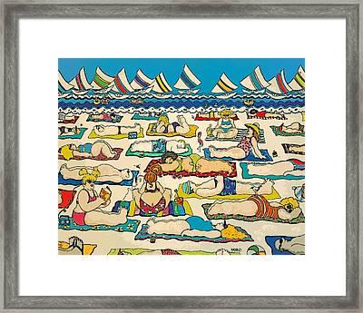 Colorful Whimsical Beach Seashore Women Men Framed Print