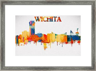 Colorful Wichita Skyline Silhouette Framed Print by Dan Sproul