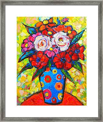 Colorful Wild Roses Bouquet - Original Impressionist Oil Painting Framed Print