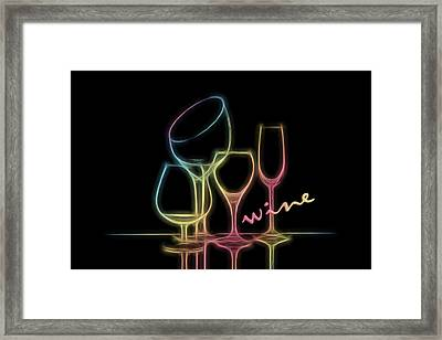 Colorful Wineglasses Framed Print