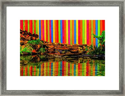 Colorful Wooden Fence Reflection Framed Print