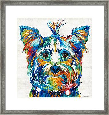 Colorful Yorkie Dog Art - Yorkshire Terrier - By Sharon Cummings Framed Print