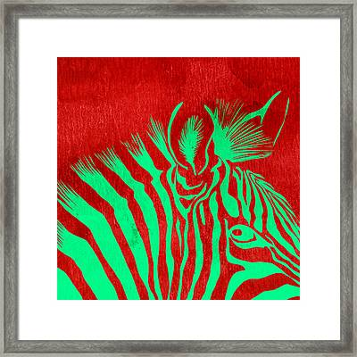 Zebra Animal Colorful Decorative Poster 5 - By Diana Van Framed Print