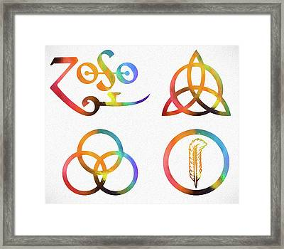 Colorful Zoso Symbols Framed Print
