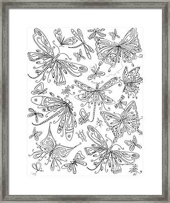 Coloring Page For Adults Butterflies And Dragonflies By Madart Framed Print