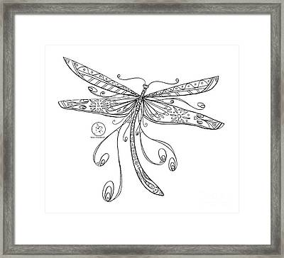 Coloring Page With Beautiful Dragonfly Drawing By Megan Duncanson Framed Print