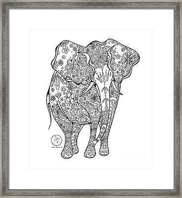 Coloring Page With Beautiful Elephant Drawing By Megan Duncanson Framed Print