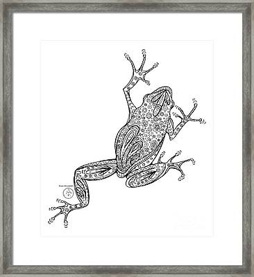 Coloring Page With Beautiful Frog Drawing By Megan Duncanson Framed Print
