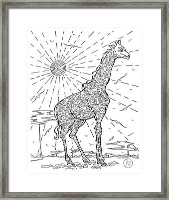 Coloring Page With Beautiful Giraffe Drawing By Megan Duncanson Framed Print