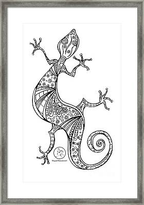 Coloring Page With Beautiful Lizard Drawing By Megan Duncanson Framed Print