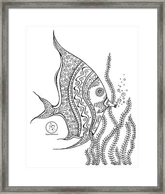 Coloring Page With Beautiful Tropical Fish 2 Drawing By Megan Duncanson Framed Print by Megan Duncanson