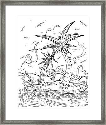 Coloring Page With Beautiful Tropical Island Drawing By Megan Duncanson Framed Print