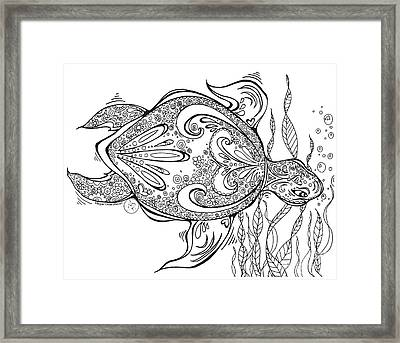 Coloring Page With Beautiful Turtle Drawing By Megan Duncanson Framed Print