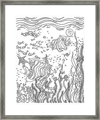 Coloring Page With Beautiful Underwater Scene Drawing By Megan Duncanson Framed Print