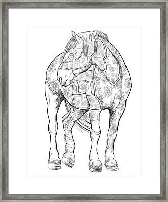 Coloring Poster Horses Framed Print