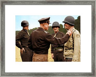 colorization WW2 Eisenhower Framed Print by John Wills