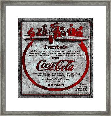 Colorized Antique Coca Cola Advertisement Framed Print