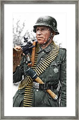Colorized Ww2 German Mg'er Framed Print by John Wills