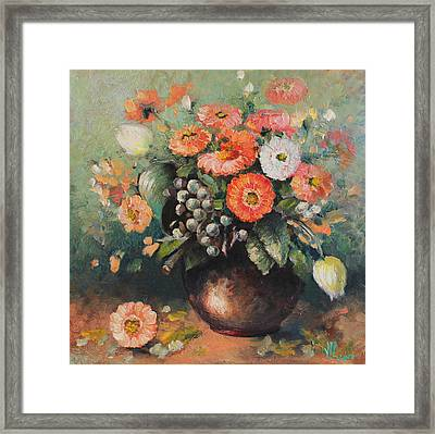 Coloroful Zinnias Bouqet Framed Print