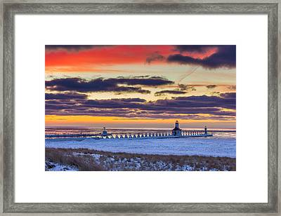 Colors After Sunset In St Joseph Framed Print by Jackie Novak