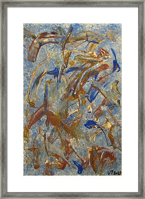 Colors Dance On Blue Framed Print by Veronica Trotter