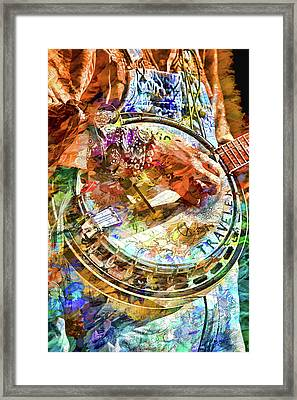 Colors Of A Banjo Busker Framed Print by John Haldane
