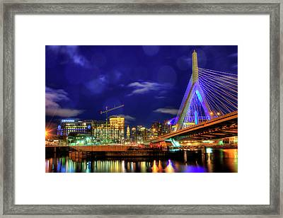 Framed Print featuring the photograph Colors Of The Zakim Bridge - Boston, Ma by Joann Vitali