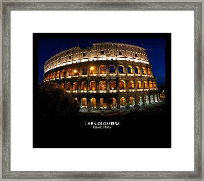 Colosseum At Night Framed Print by Alan Zeleznikar