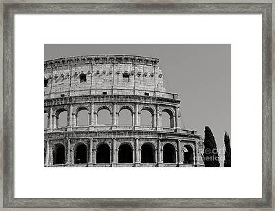 Colosseum Or Coliseum Black And White Framed Print by Edward Fielding