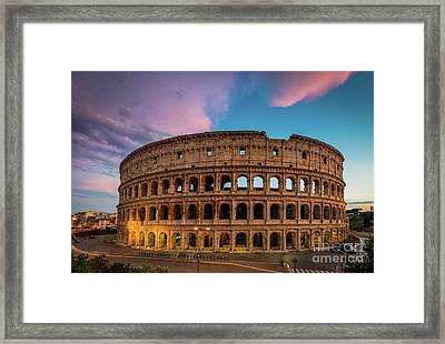 Colosseum Twilight Framed Print by Inge Johnsson