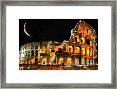 Colosseum Under The Moon Framed Print