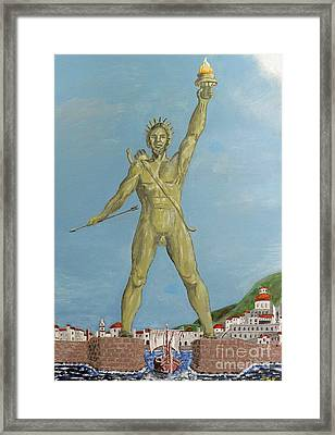 Framed Print featuring the painting Colossus Of Rhodes by Eric Kempson