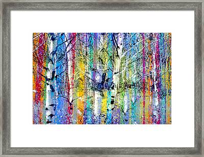 Colour Playing In The Forest Framed Print