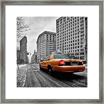 Colour Popped Nyc Cab In Front Of The Flat Iron Building  Framed Print