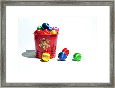 Coloured Baubles In A Pot Framed Print
