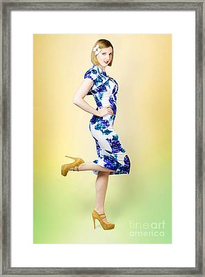 Colourful A Blond Retro Pinup Girl In High Heels Framed Print by Jorgo Photography - Wall Art Gallery