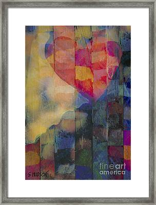 colourful abstract Valentine - Heart Afloat Framed Print