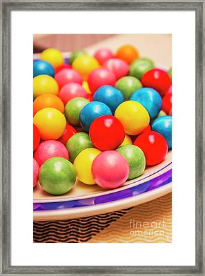 Colourful Bubblegum Candy Balls Framed Print