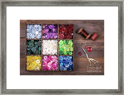 Colourful Buttons With Needle, Thread And Scissors Framed Print by Jane Rix
