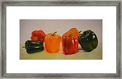 Colourful Capsicums Framed Print by Shilpa Adavatkar