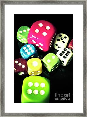Colourful Casino Dice  Framed Print